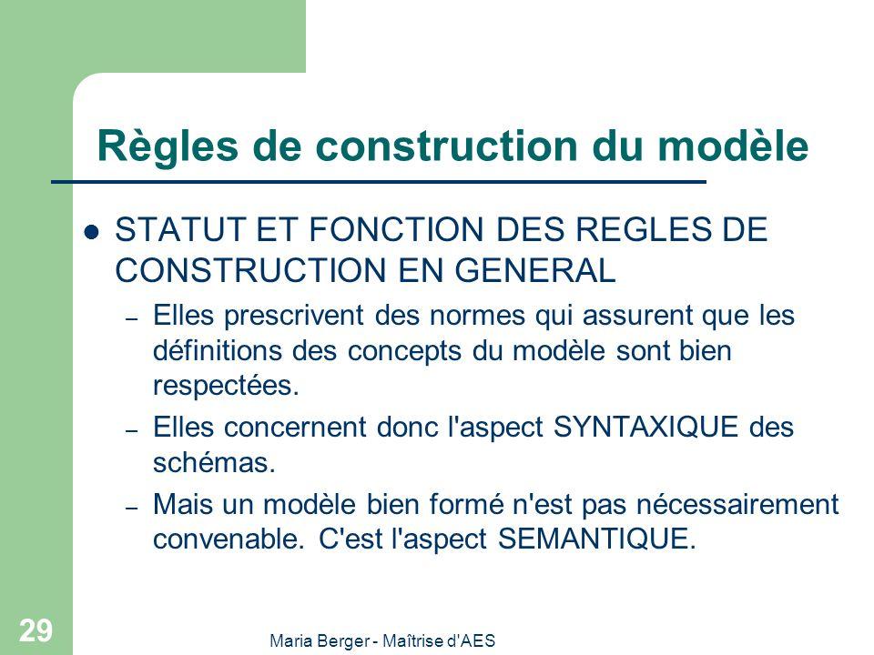 Maria Berger - Maîtrise d'AES 29 Règles de construction du modèle STATUT ET FONCTION DES REGLES DE CONSTRUCTION EN GENERAL – Elles prescrivent des nor