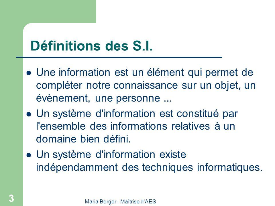 Maria Berger - Maîtrise d'AES 3 Définitions des S.I. Une information est un élément qui permet de compléter notre connaissance sur un objet, un évènem