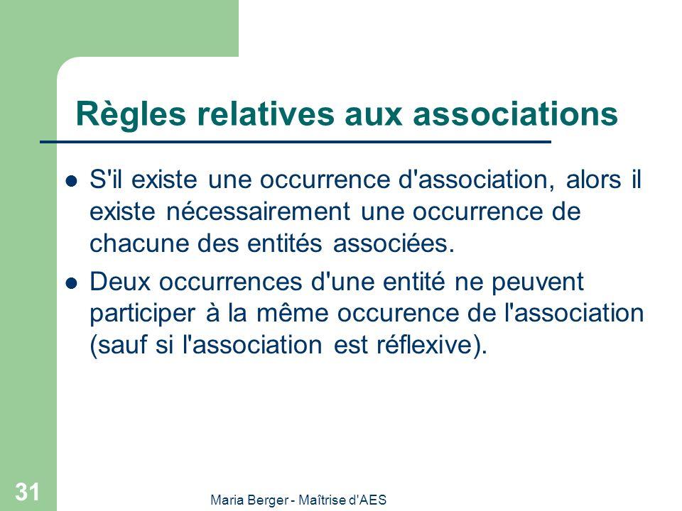 Maria Berger - Maîtrise d'AES 31 Règles relatives aux associations S'il existe une occurrence d'association, alors il existe nécessairement une occurr