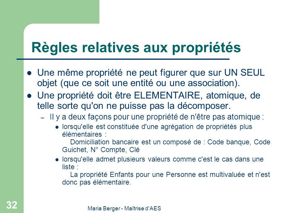 Maria Berger - Maîtrise d'AES 32 Règles relatives aux propriétés Une même propriété ne peut figurer que sur UN SEUL objet (que ce soit une entité ou u
