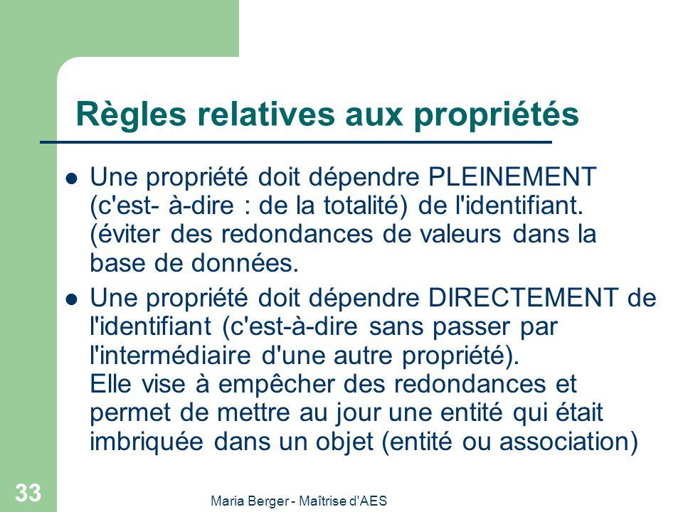 Maria Berger - Maîtrise d'AES 33 Règles relatives aux propriétés Une propriété doit dépendre PLEINEMENT (c'est- à-dire : de la totalité) de l'identifi