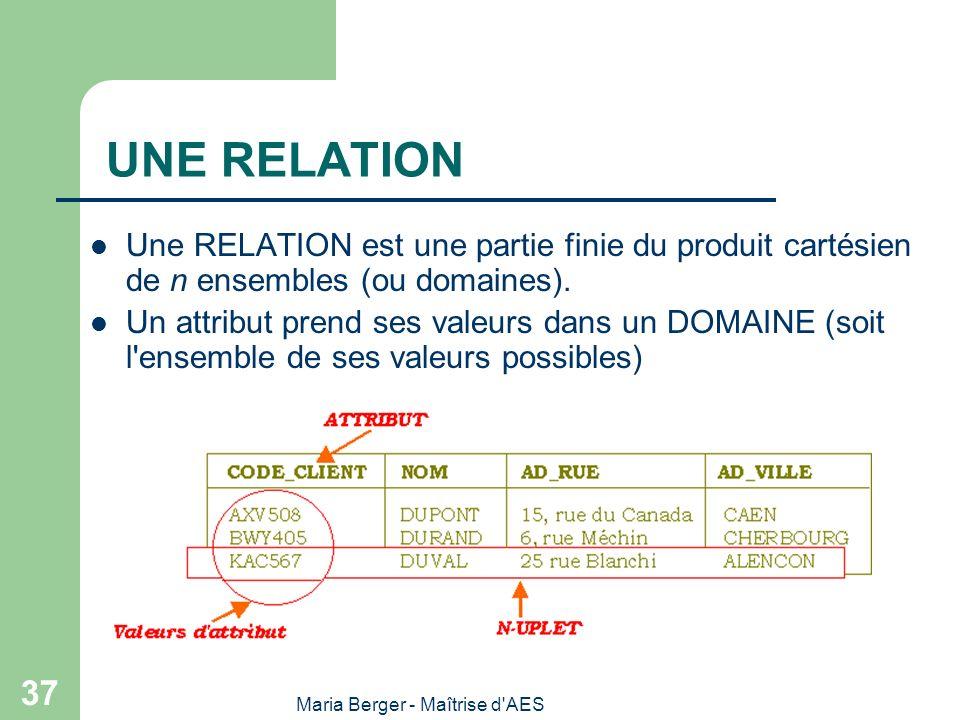Maria Berger - Maîtrise d'AES 37 UNE RELATION Une RELATION est une partie finie du produit cartésien de n ensembles (ou domaines). Un attribut prend s