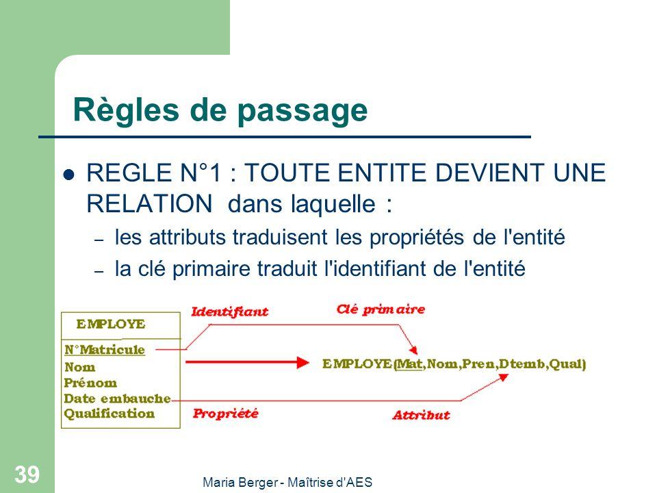 Maria Berger - Maîtrise d'AES 39 Règles de passage REGLE N°1 : TOUTE ENTITE DEVIENT UNE RELATION dans laquelle : – les attributs traduisent les propri