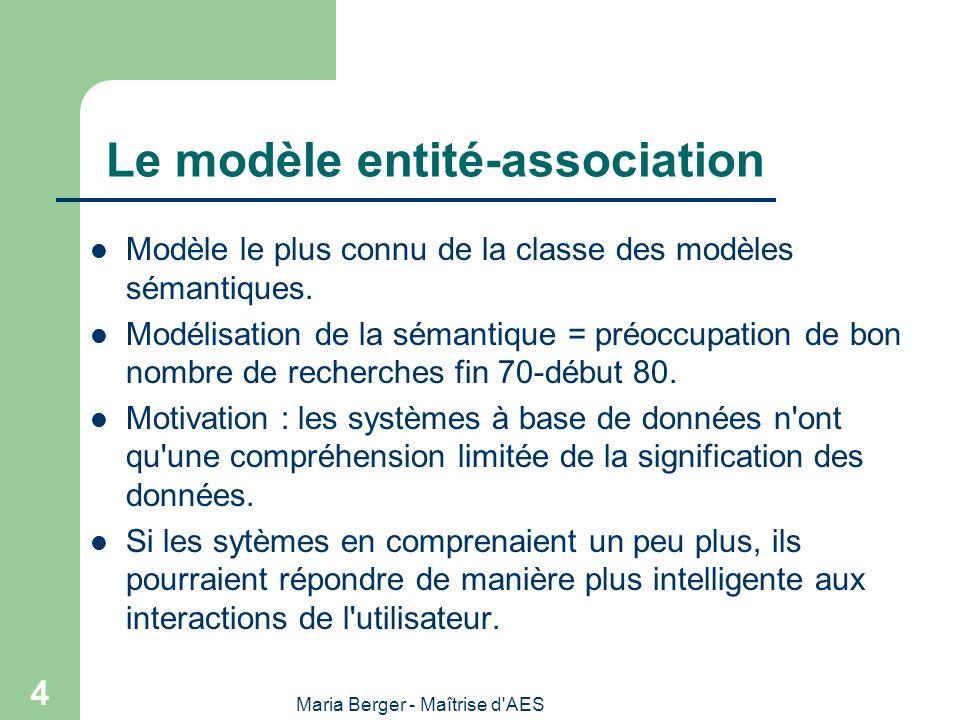 Maria Berger - Maîtrise d AES 45 Règles de passage : CONCLUSION Les règles de passage d un modèle Entité- Association en schéma logique d une Base de Données Relationnelles sont totalement formalisables (pourvu que le modèle E-A soit au moins en 3ème Forme Normale) – Par conséquent, on peut les automatiser au moyen d un programme : c est ce que font tous les Ateliers de Génie Logiciel qui vous aident à dessiner votre modèle E-A et vous génèrent ensuite tous seuls le schéma de la BD