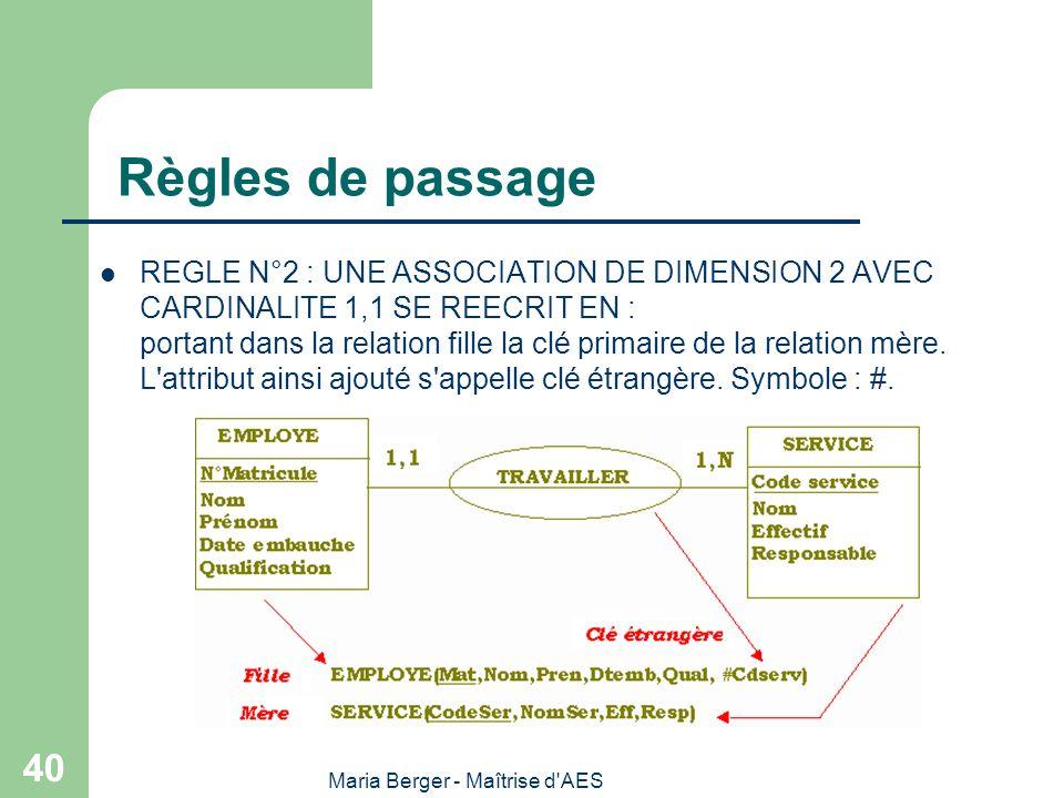 Maria Berger - Maîtrise d'AES 40 Règles de passage REGLE N°2 : UNE ASSOCIATION DE DIMENSION 2 AVEC CARDINALITE 1,1 SE REECRIT EN : portant dans la rel