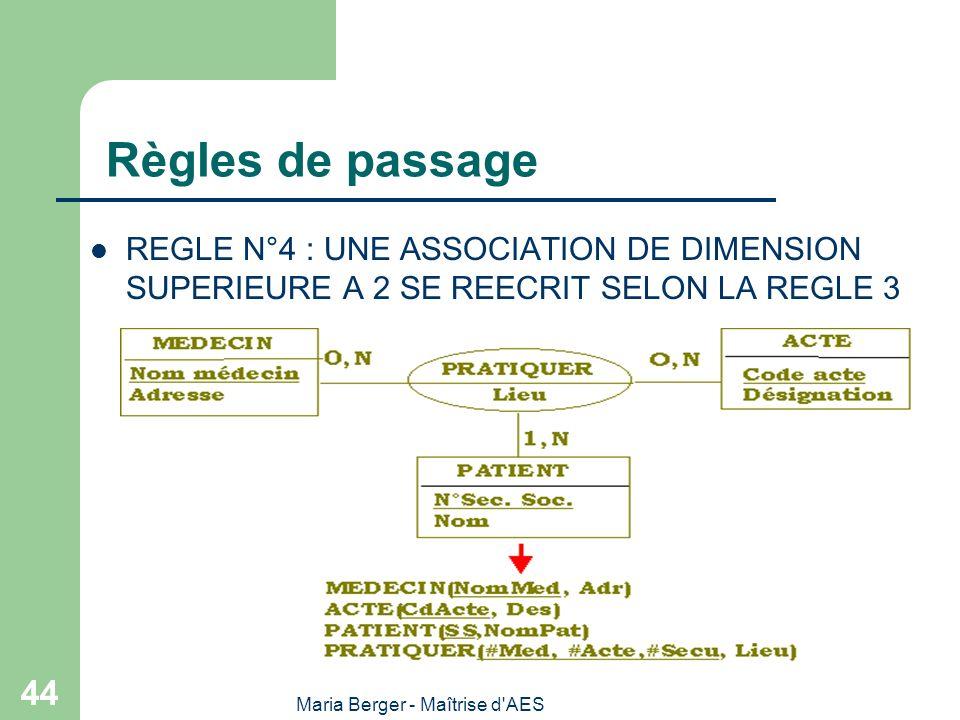 Maria Berger - Maîtrise d'AES 44 Règles de passage REGLE N°4 : UNE ASSOCIATION DE DIMENSION SUPERIEURE A 2 SE REECRIT SELON LA REGLE 3