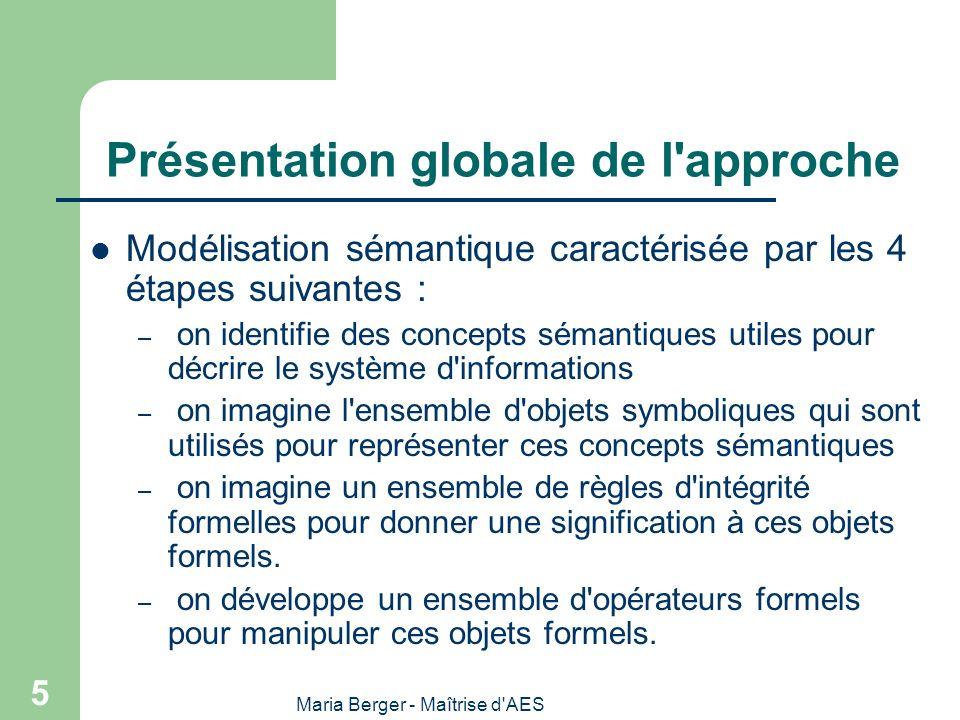 Maria Berger - Maîtrise d AES 36 Passage EA – modèle relationnel LA SOLUTION CLASSIQUE: On passe du modèle conceptuel au modèle logique par une opération de TRADUCTION