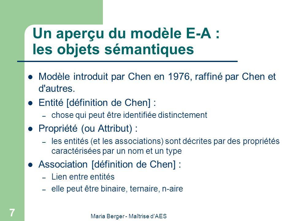 Maria Berger - Maîtrise d AES 8 Les diagrammes E-A Les entités – Représentées par un rectangle contenant le nom du type de l entité Les propriétés (ou attributs) – le nom de la propriété écrit dans l entité ou l association correspondante – Les propriétés clés sont soulignées