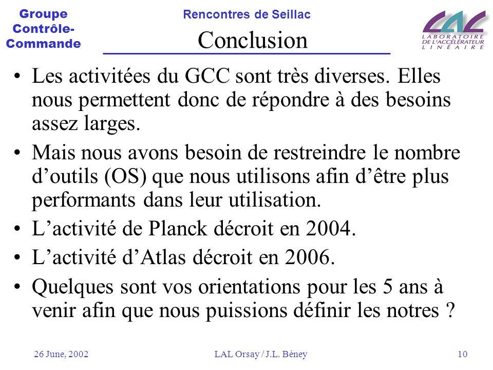 Groupe Contrôle- Commande Rencontres de Seillac 26 June, 2002LAL Orsay / J.L.