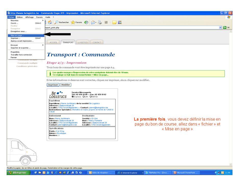 La première fois, vous devez définir la mise en page du bon de course, allez dans « fichier » et « Mise en page »