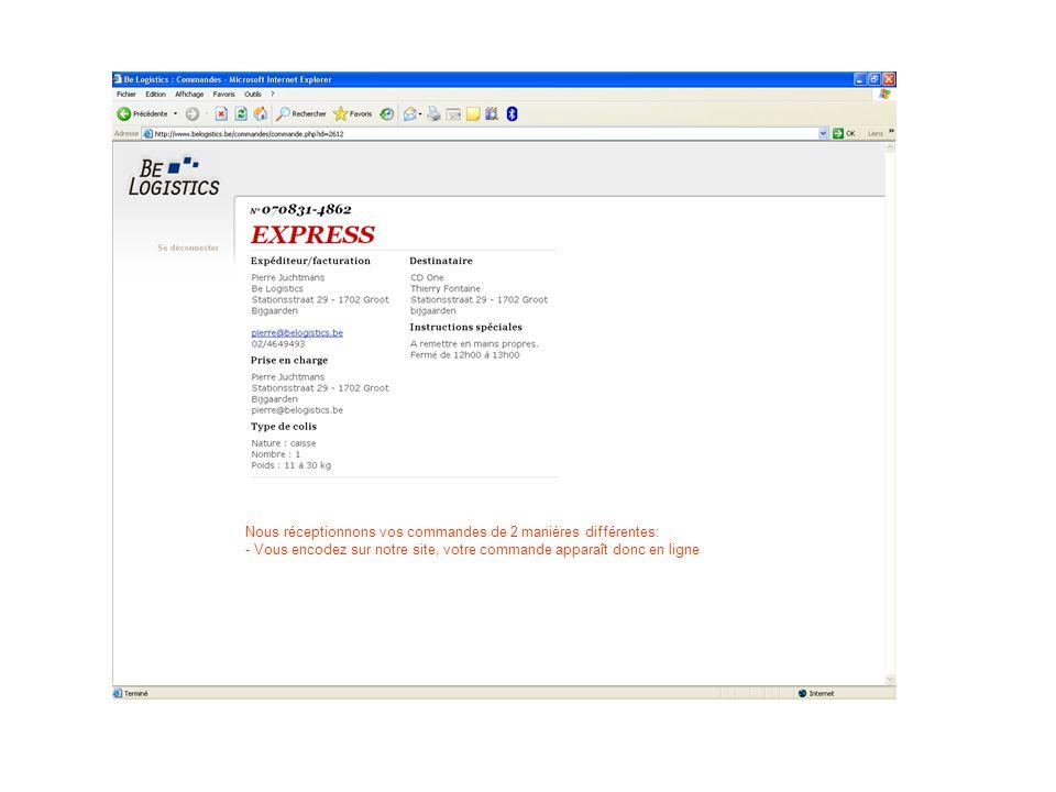 Nous réceptionnons vos commandes de 2 manières différentes: - Vous encodez sur notre site, votre commande apparaît donc en ligne