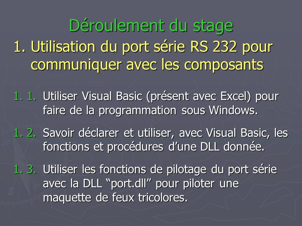 Déroulement du stage 1. 1.Utiliser Visual Basic (présent avec Excel) pour faire de la programmation sous Windows. 1. 2. Savoir déclarer et utiliser, a