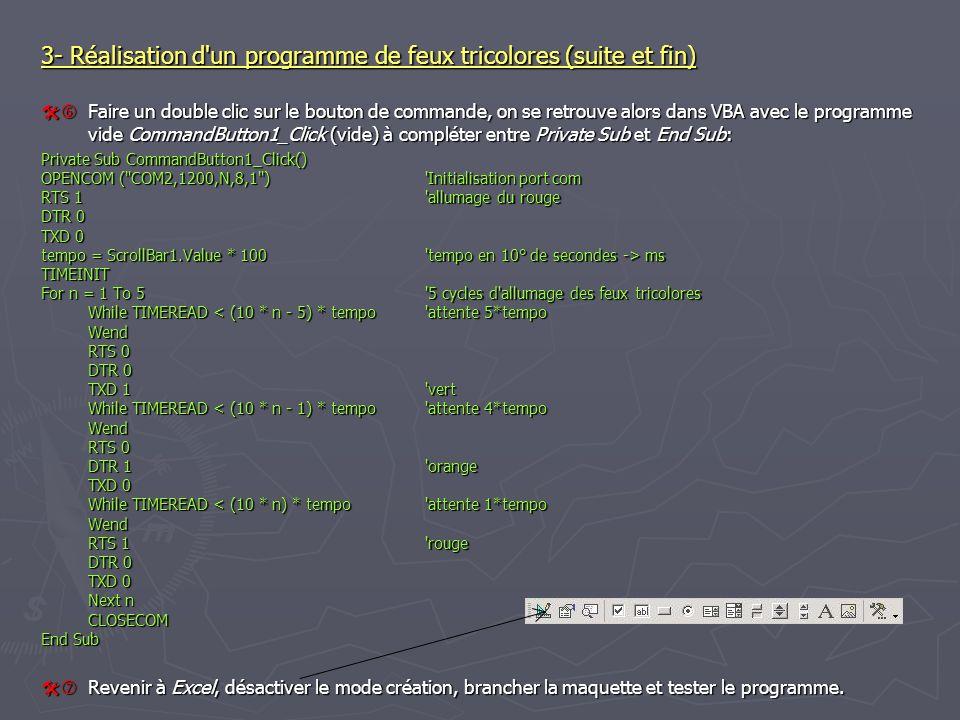 3- Réalisation d'un programme de feux tricolores (suite et fin) Faire un double clic sur le bouton de commande, on se retrouve alors dans VBA avec le