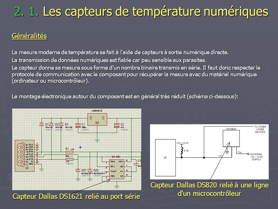 2. 1. Les capteurs de température numériques 2. 1. Les capteurs de température numériquesGénéralités La mesure moderne de température se fait à l'aide