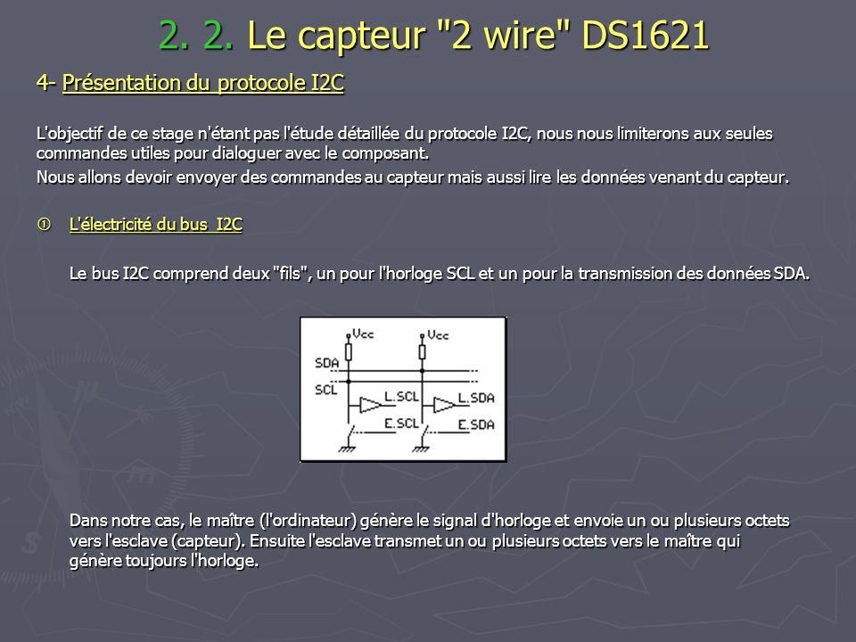 4- Présentation du protocole I2C L'objectif de ce stage n'étant pas l'étude détaillée du protocole I2C, nous nous limiterons aux seules commandes util