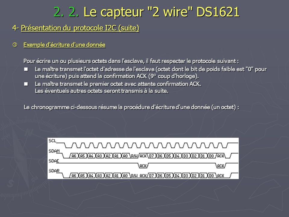 4- Présentation du protocole I2C (suite) Exemple d'écriture d'une donnée Exemple d'écriture d'une donnée Pour écrire un ou plusieurs octets dans l'esc