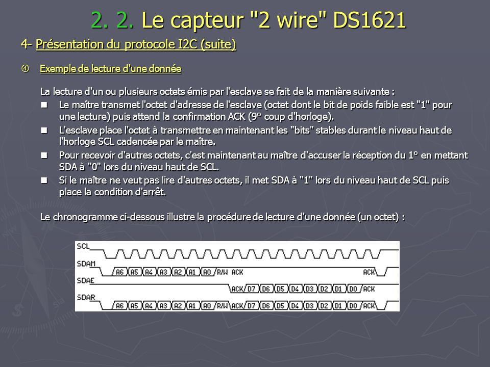 4- Présentation du protocole I2C (suite) Exemple de lecture d'une donnée Exemple de lecture d'une donnée La lecture d'un ou plusieurs octets émis par