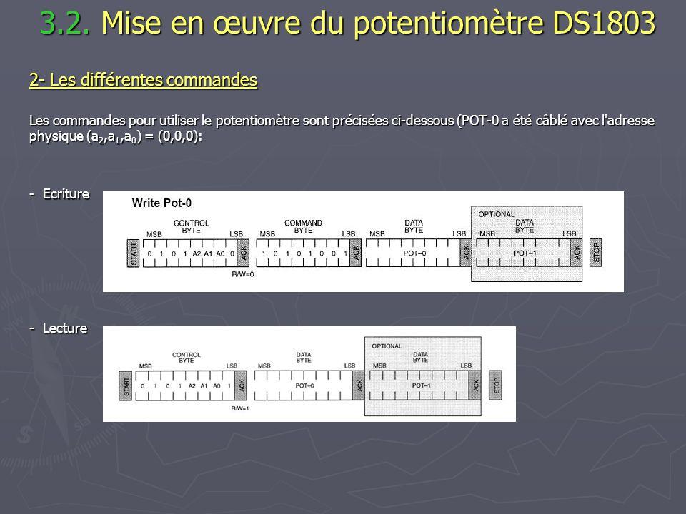 3.2. Mise en œuvre du potentiomètre DS1803 3.2. Mise en œuvre du potentiomètre DS1803 2- Les différentes commandes Les commandes pour utiliser le pote