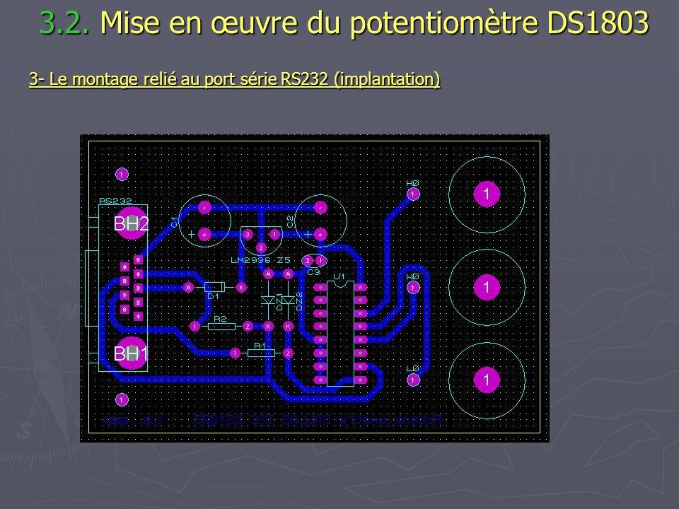3.2. Mise en œuvre du potentiomètre DS1803 3.2. Mise en œuvre du potentiomètre DS1803 3- Le montage relié au port série RS232 (implantation)
