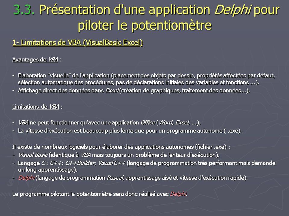 3.3. Présentation d'une application Delphi pour piloter le potentiomètre 3.3. Présentation d'une application Delphi pour piloter le potentiomètre 1- L