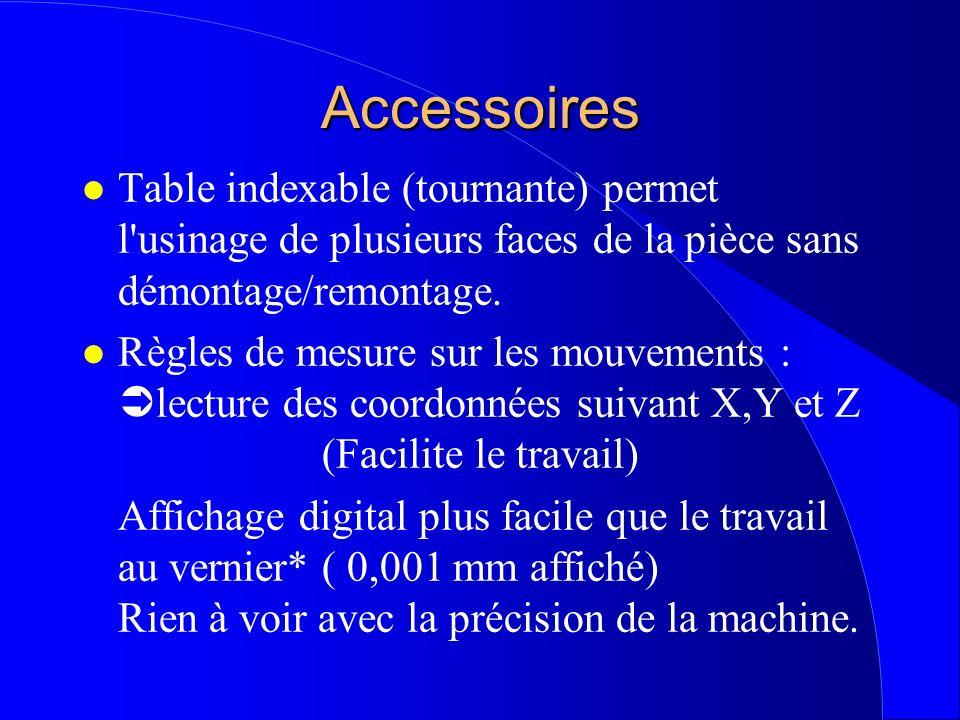 Accessoires l Table indexable (tournante) permet l'usinage de plusieurs faces de la pièce sans démontage/remontage. l Règles de mesure sur les mouveme