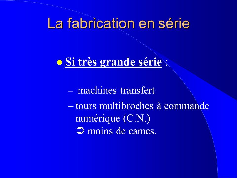La fabrication en série l Si très grande série : – machines transfert –tours multibroches à commande numérique (C.N.) moins de cames.