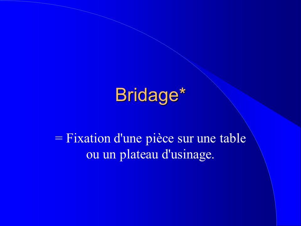 Bridage* = Fixation d'une pièce sur une table ou un plateau d'usinage.
