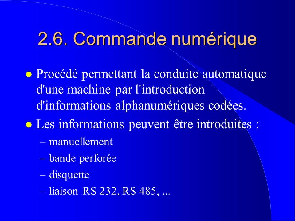 2.6. Commande numérique l Procédé permettant la conduite automatique d'une machine par l'introduction d'informations alphanumériques codées. l Les inf
