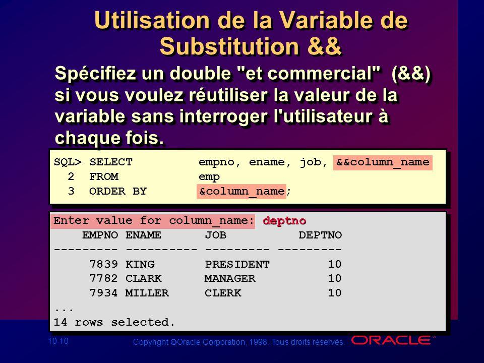 10-10 Copyright Oracle Corporation, 1998. Tous droits réservés. Utilisation de la Variable de Substitution && Spécifiez un double