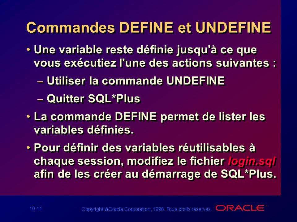 10-14 Copyright Oracle Corporation, 1998. Tous droits réservés. Commandes DEFINE et UNDEFINE Une variable reste définie jusqu'à ce que vous exécutiez