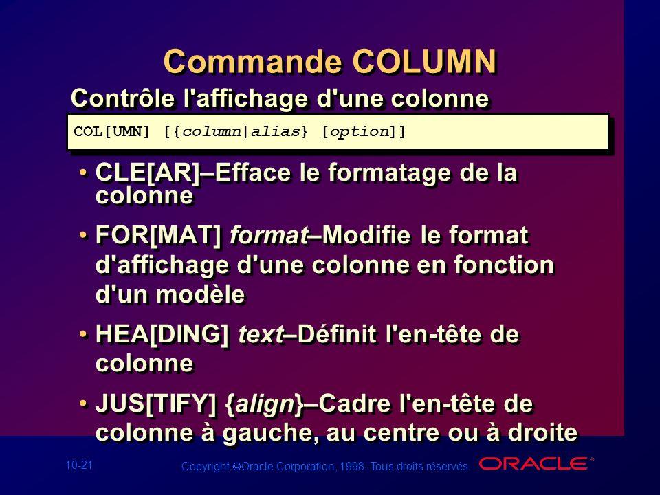 10-21 Copyright Oracle Corporation, 1998. Tous droits réservés. Commande COLUMN Contrôle l'affichage d'une colonne CLE[AR]–Efface le formatage de la c