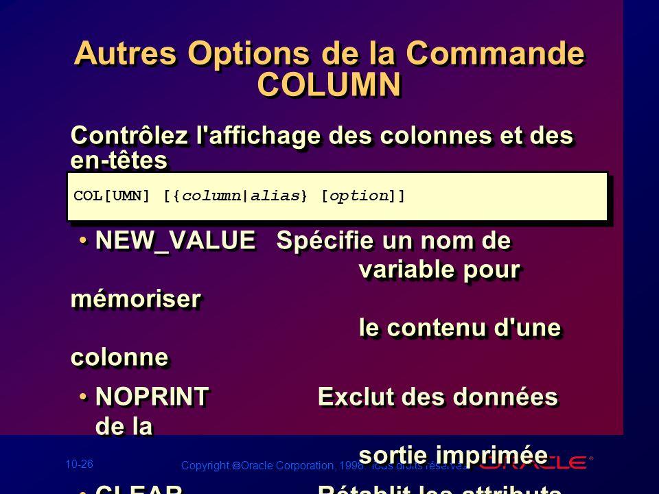 10-26 Copyright Oracle Corporation, 1998. Tous droits réservés. Autres Options de la Commande COLUMN Contrôlez l'affichage des colonnes et des en-tête