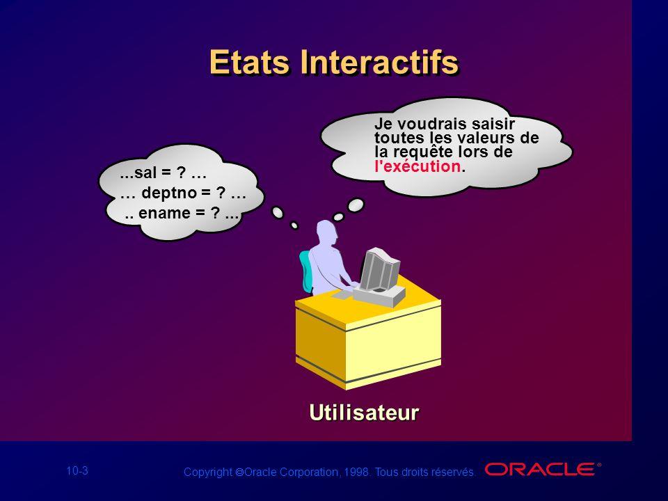 10-3 Copyright Oracle Corporation, 1998. Tous droits réservés. Etats Interactifs Je voudrais saisir toutes les valeurs de la requête lors de l'exécuti