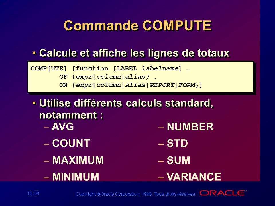 10-36 Copyright Oracle Corporation, 1998. Tous droits réservés. Commande COMPUTE Calcule et affiche les lignes de totaux Utilise différents calculs st