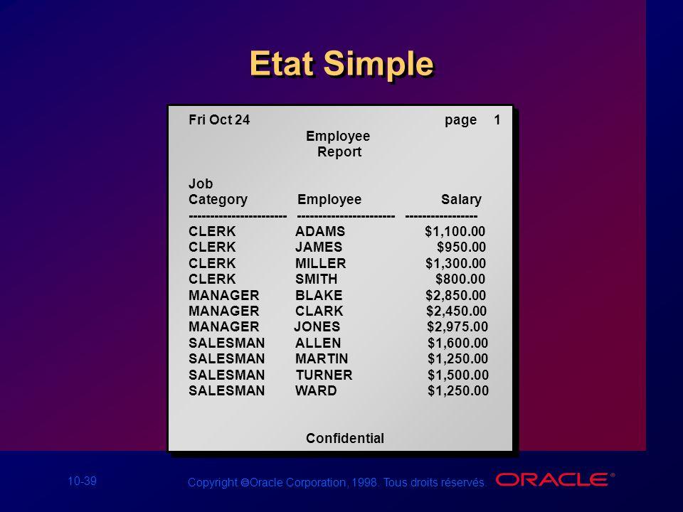 10-39 Copyright Oracle Corporation, 1998. Tous droits réservés. Etat Simple Fri Oct 24 page 1 Employee Report Job Category Employee Salary -----------