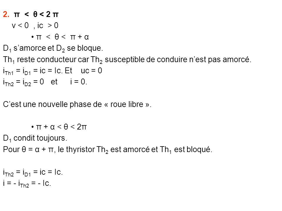 2. π < θ < 2 π v 0 π < θ < π + α D 1 samorce et D 2 se bloque. Th 1 reste conducteur car Th 2 susceptible de conduire nest pas amorcé. i Th1 = i D1 =