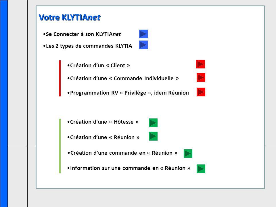 Se Connecter à son KLYTIAnet Les 2 types de commandes KLYTIA Création dune « Hôtesse » Création dun « Client » Création dune « Commande Individuelle » Création dune « Réunion » Création dune commande en « Réunion » Information sur une commande en « Réunion » Votre KLYTIAnet Programmation RV « Privilège », idem Réunion