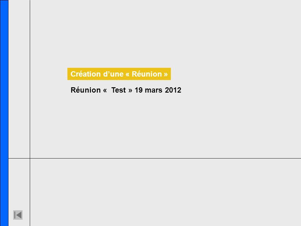 Réunion « Test » 19 mars 2012 Création dune « Réunion »