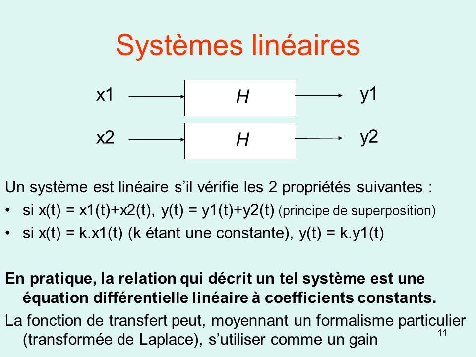 11 Systèmes linéaires Un système est linéaire sil vérifie les 2 propriétés suivantes : si x(t) = x1(t)+x2(t), y(t) = y1(t)+y2(t) (principe de superpos