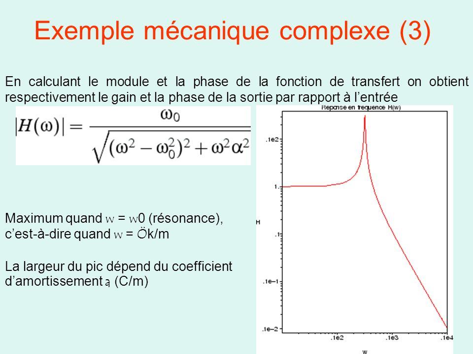 16 Exemple mécanique complexe (3) En calculant le module et la phase de la fonction de transfert on obtient respectivement le gain et la phase de la s