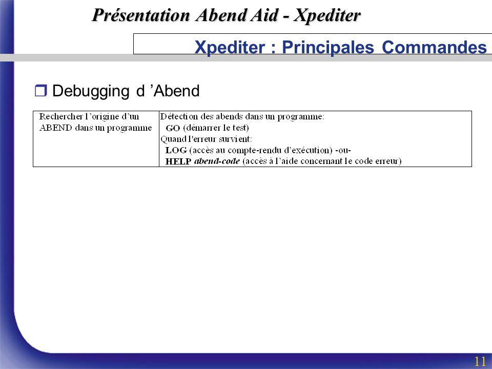 Présentation Abend Aid - Xpediter 11 Xpediter : Principales Commandes rDebugging d Abend