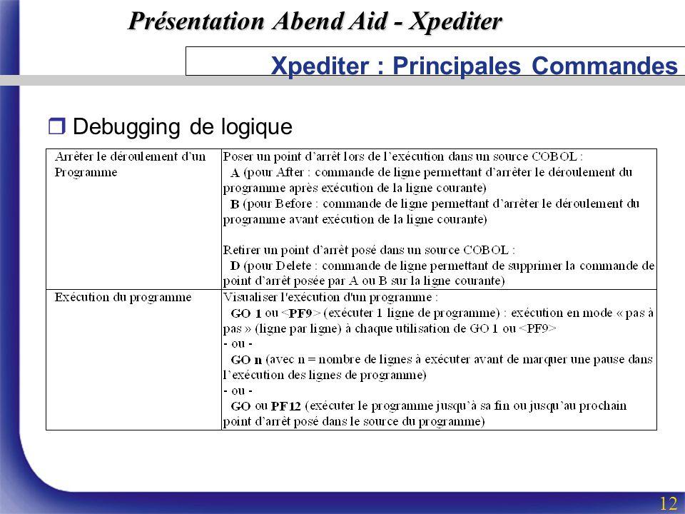 Présentation Abend Aid - Xpediter 12 Xpediter : Principales Commandes rDebugging de logique