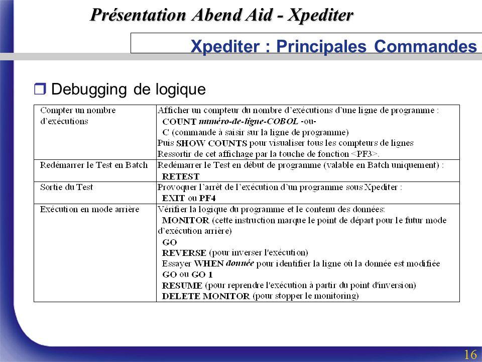 Présentation Abend Aid - Xpediter 16 Xpediter : Principales Commandes rDebugging de logique