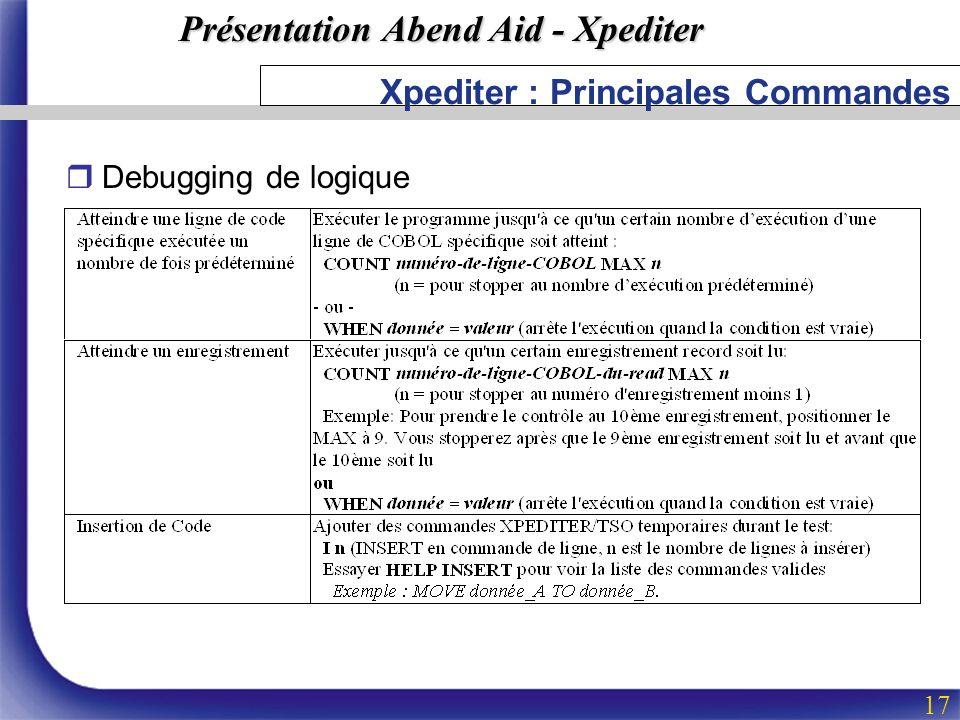 Présentation Abend Aid - Xpediter 17 Xpediter : Principales Commandes rDebugging de logique