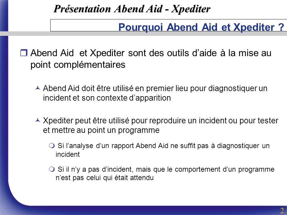 Présentation Abend Aid - Xpediter 2 Pourquoi Abend Aid et Xpediter ? rAbend Aid et Xpediter sont des outils daide à la mise au point complémentaires ©