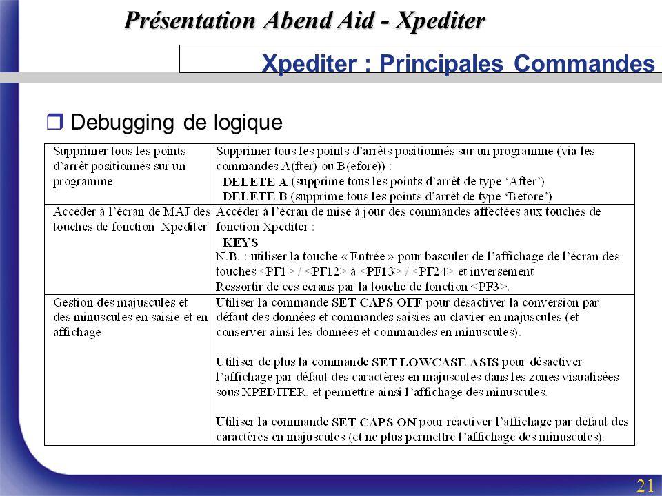Présentation Abend Aid - Xpediter 21 Xpediter : Principales Commandes rDebugging de logique