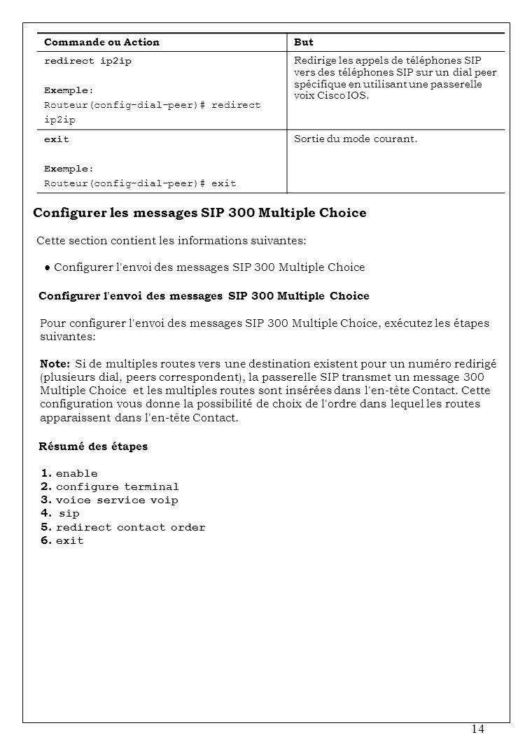 14 Commande ou ActionBut redirect ip2ip Exemple: Routeur(config-dial-peer)# redirect ip2ip Redirige les appels de téléphones SIP vers des téléphones S
