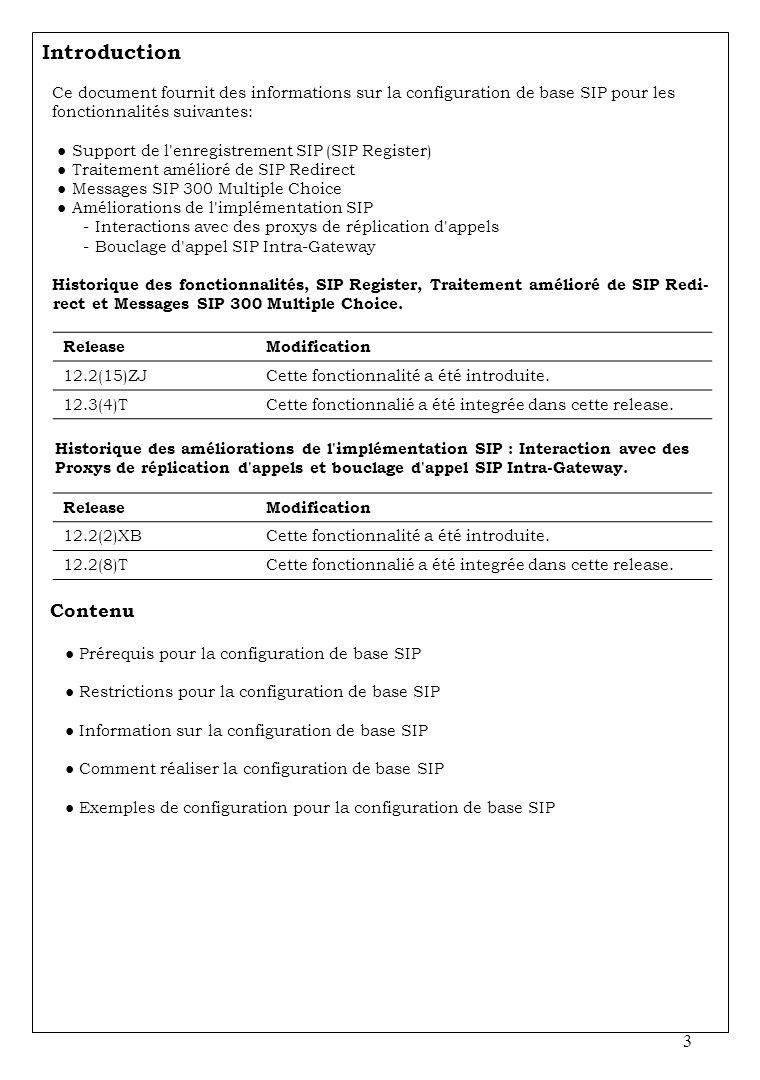 3 Introduction Ce document fournit des informations sur la configuration de base SIP pour les fonctionnalités suivantes: Support de l'enregistrement S