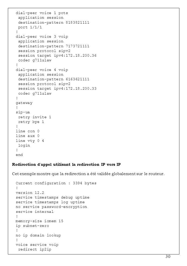 30 dial-peer voice 1 pots application session destination-pattern 8183821111 port 1/1/1 ! dial-peer voice 3 voip application session destination-patte