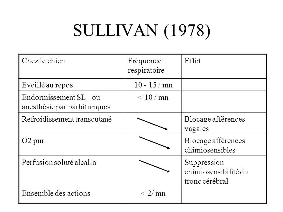 SULLIVAN (1978) Chez le chienFréquence respiratoire Effet Eveillé au repos10 - 15 / mn Endormissement SL - ou anesthésie par barbituriques < 10 / mn R